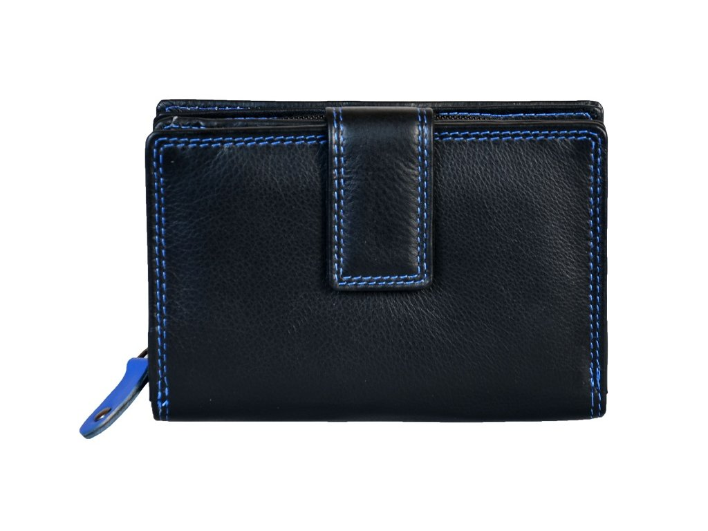 Dámská kožená peněženka s ochranou RFID JBPL 06C- černá/modrá