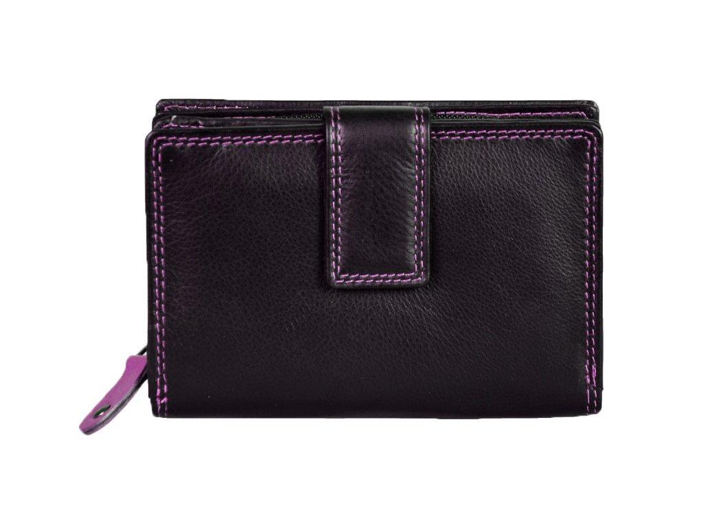Dámská kožená peněženka s ochranou RFID JBPL 06C- černá/růžová