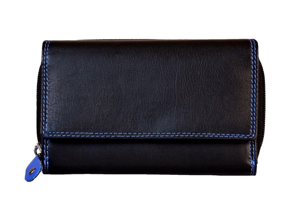 Dámská kožená peněženka s ochranou RFID JBPL 04C- černá/modrá