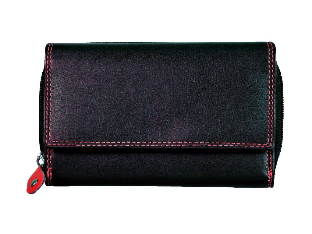 Dámská kožená peněženka s ochranou RFID JBPL 04C- černá/červená