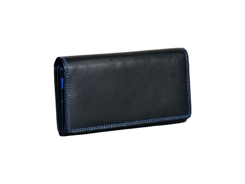 Dámská kožená peněženka s ochranou RFID JBPL 07C- černá/modrá