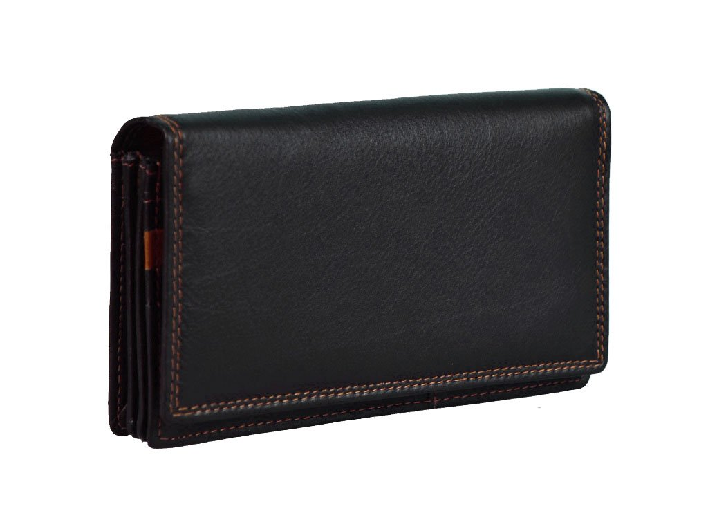 *Dámská kožená peněženka s ochranou RFID JBPL 03- černá/tan