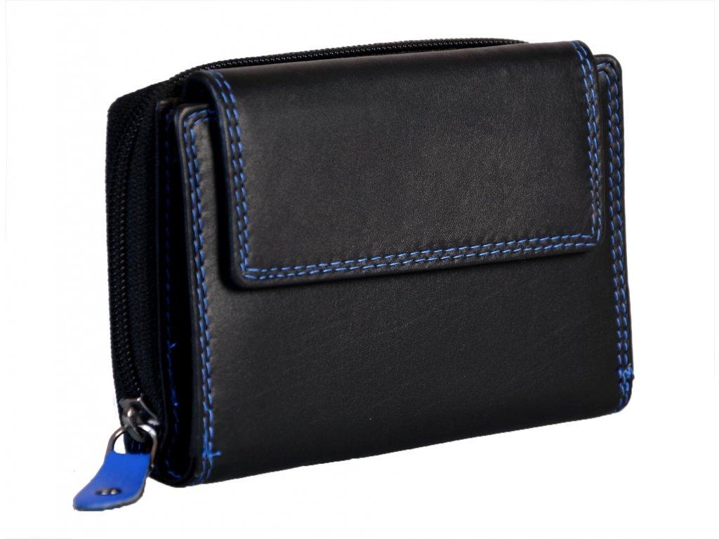 Dámská kožená peněženka s ochranou RFID JBPL 02C- černá/modrá