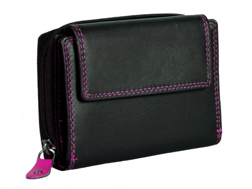Dámská kožená peněženka s ochranou RFID JBPL 02C- černá/růžová