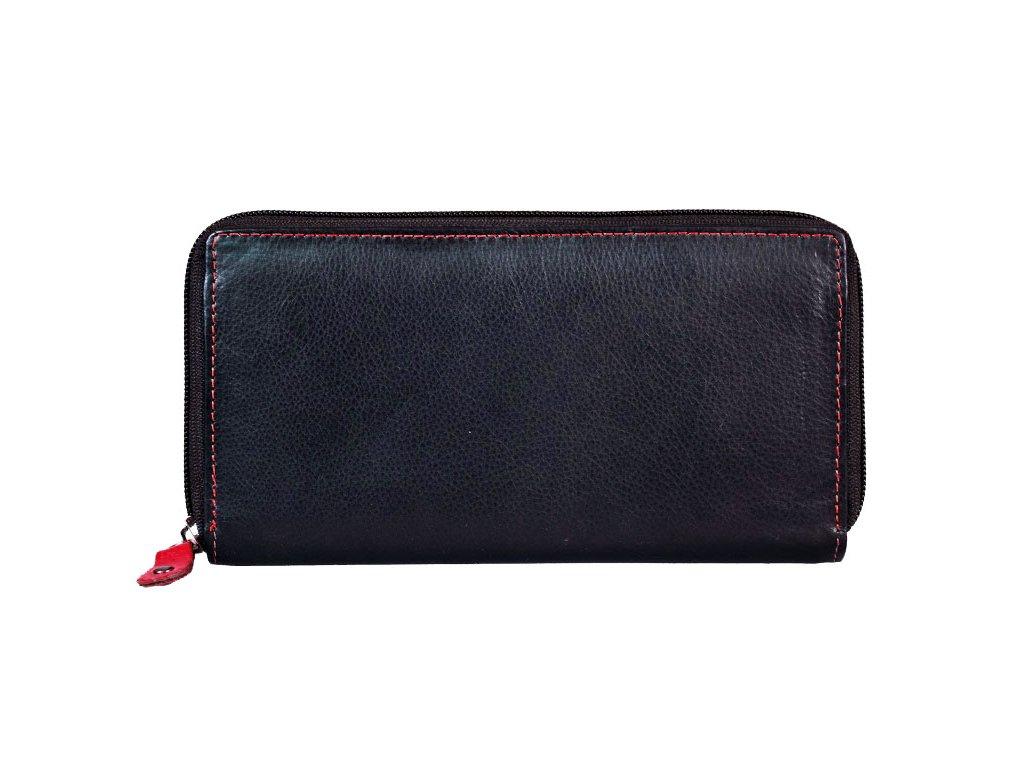 Dámská kožená peněženka s ochranou RFID JBPL 05- černá/červená