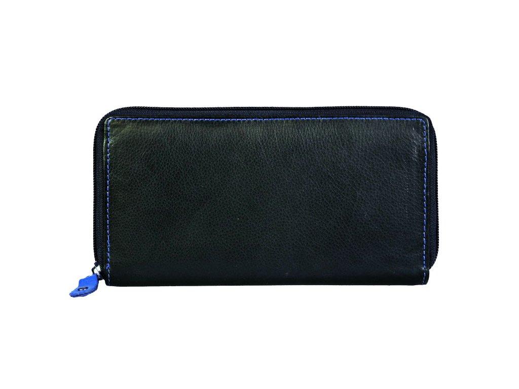 Dámská kožená peněženka s ochranou RFID JBPL 05- černá/modrá