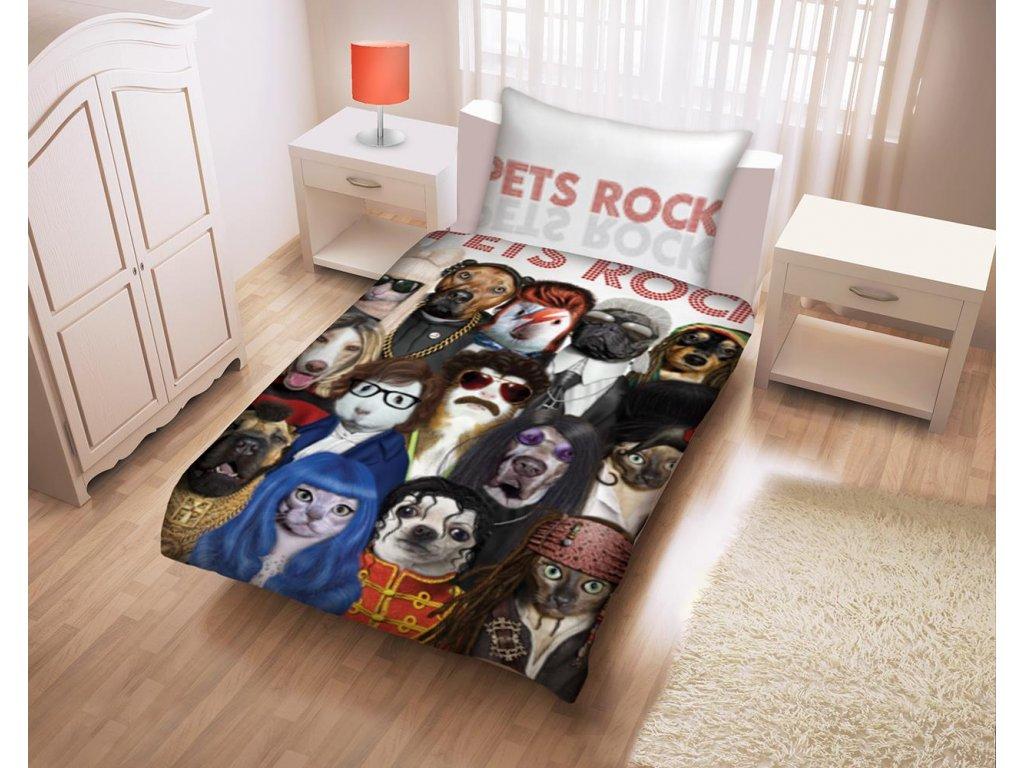 HALANTEX Povlečení Pets Rock bavlna 140x200 70x90