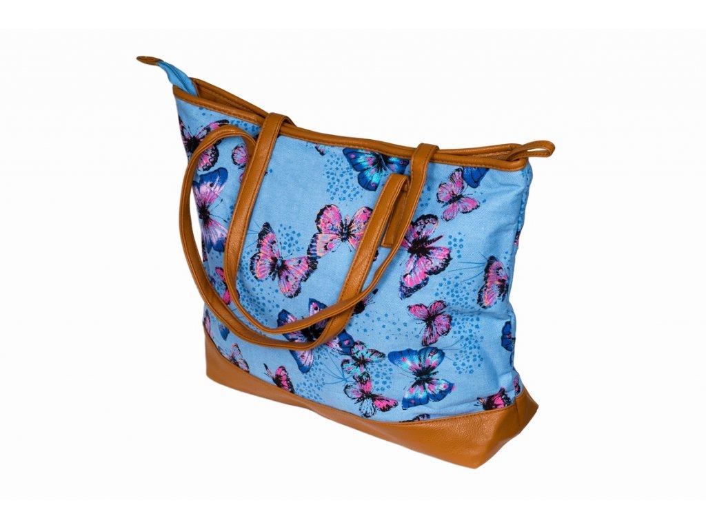 Látková taška s motýly - světle modá JBSH 004