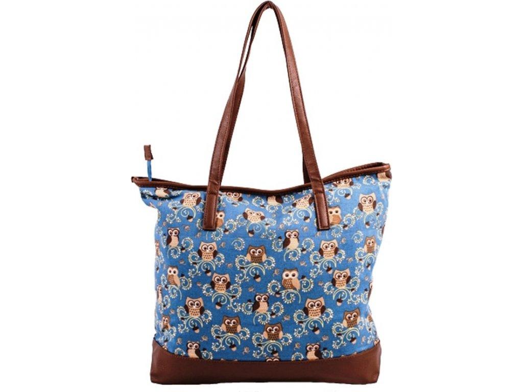 Látková taška se sovami - světle modrá JBSH 004