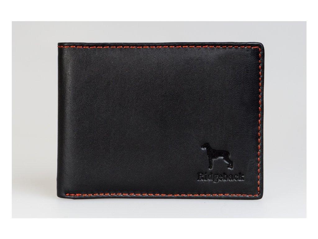 Pánská kožená peněženka JBNC35, černá/červené šití