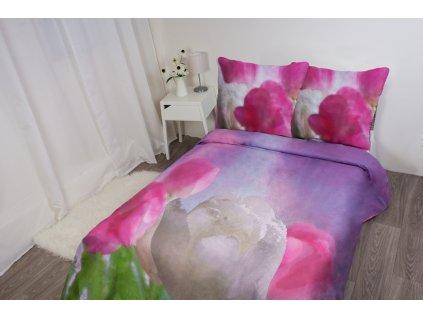 FLORI bavlna Povlečení 3D Tulipány 200x220/70x80