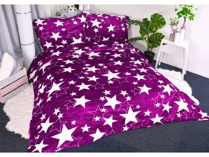Povlečení mikroplyš Hvězda fialové 220x200/70x90
