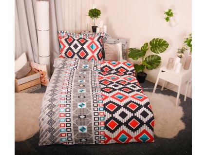 Aaryans krepové povlečení blue & red squares 140 x 200/ 70x90