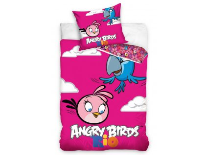 Carbotex Bavlněné povlečení Angry Birds PINK 140x200/70x80