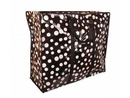 Nákupní taška černá s tečky– velká (60 × 67 × 27 cm)