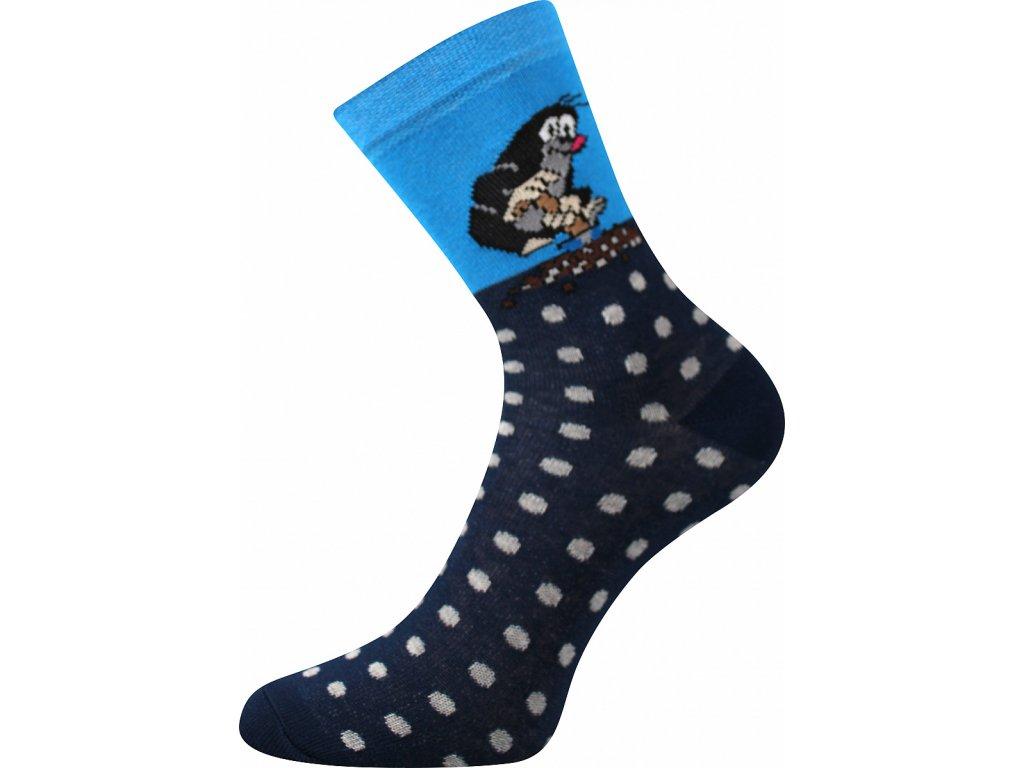 Ponožky KRTEK veselé obrázkové vtipné - (Barvy Modrá B, Velikosti ponožek 20-22 (30-34))