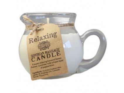 Masážna sviečka sojová vskle  – RELAX