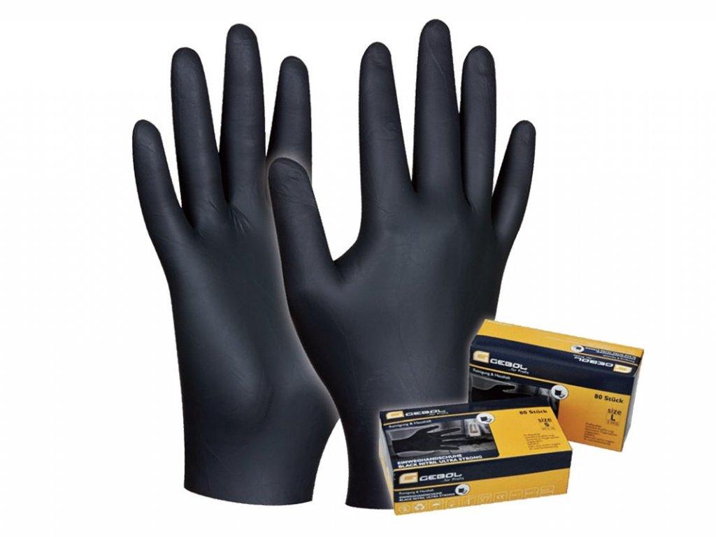 Pracovné rukavice GEBOL Black Nitril č. XL - 80ks