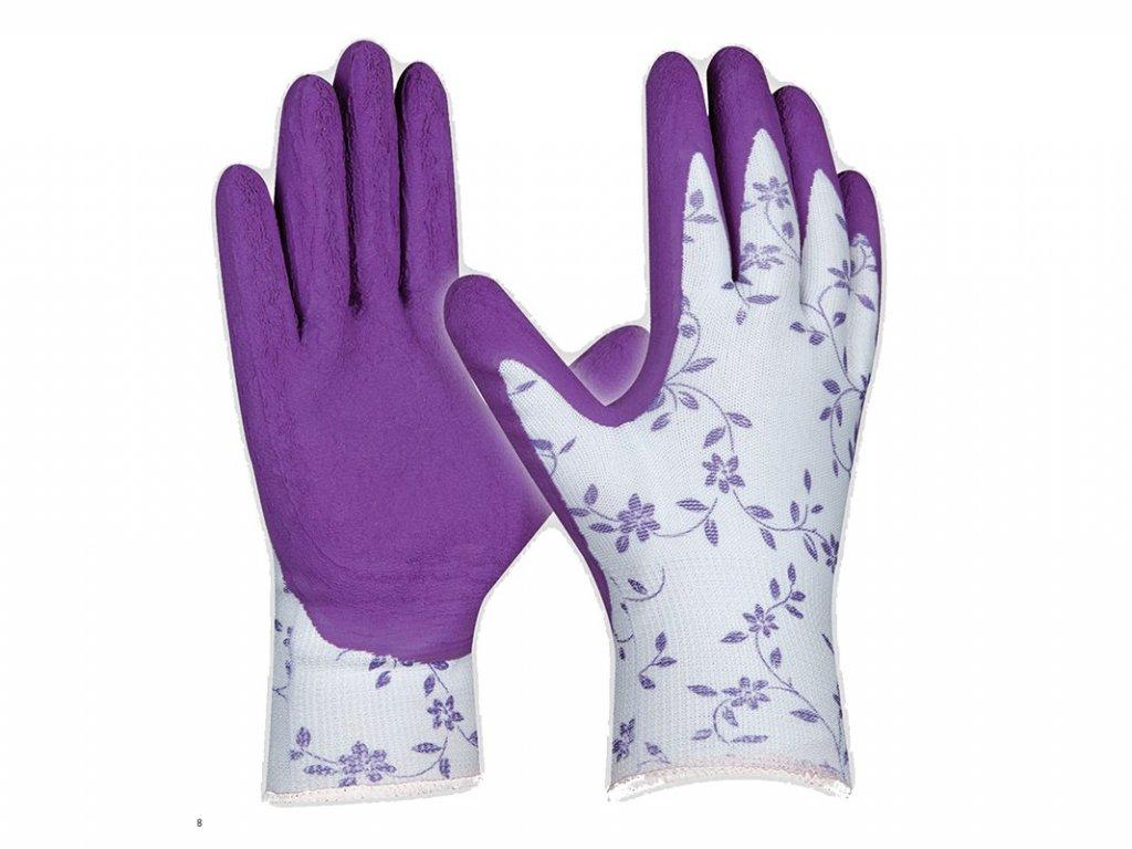 Pracovné rukavice GEBOL Flower Lila č.8
