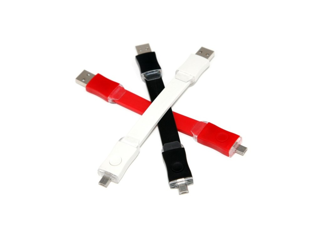 Beik micro USB kabel s LED osvětlením - bílý