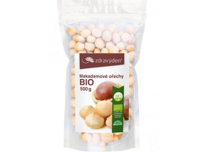 Zdravý den Makadamové ořechy BIO loupané 500g  + šťavnatá tyčinka ZDARMA