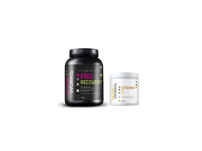 NutriWorks Pro Recovery 1kg malina + Vitamin C 200g ZDARMA  + šťavnatá tyčinka ZDARMA