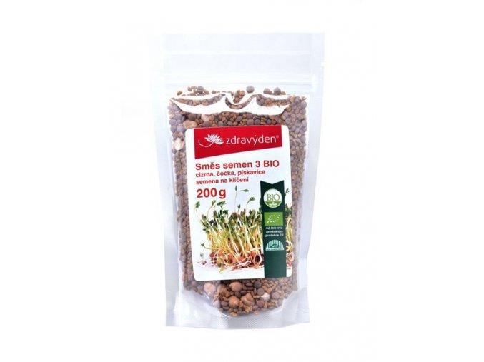 Zdravý den Směs semen na klíčení 3 BIO - cizrna, čočka, pískavice 200g