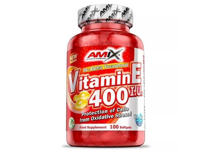 Amix Vitamin E 400IU 100 softgels  + šťavnatá tyčinka ZDARMA