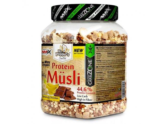 Amix Mr.Popper´s High Protein Musli 500g  + šťavnatá tyčinka ZDARMA
