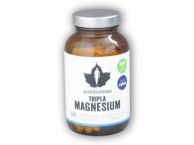 Puhdistamo Tripla Magnesium (Hořčík) 120 kapslí  + šťavnatá tyčinka ZDARMA