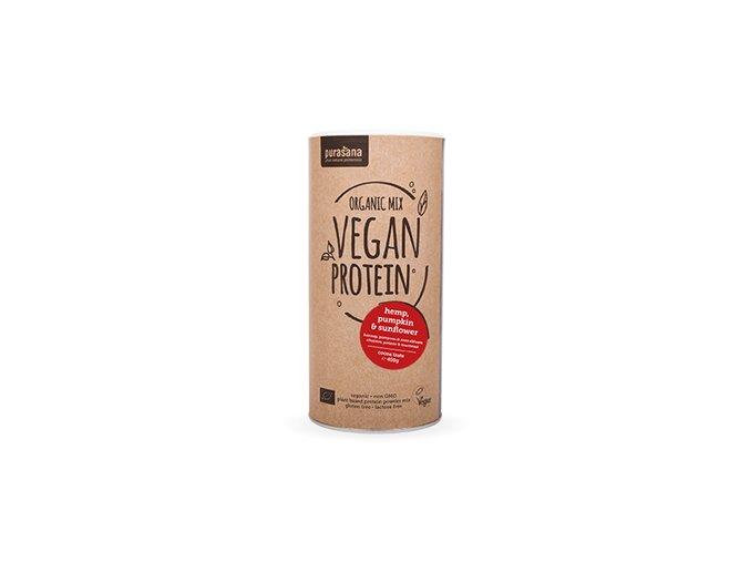 Purasana Vegan Protein MIX BIO 400g kakao (dýně, slunečnice, konopí)  + šťavnatá tyčinka ZDARMA