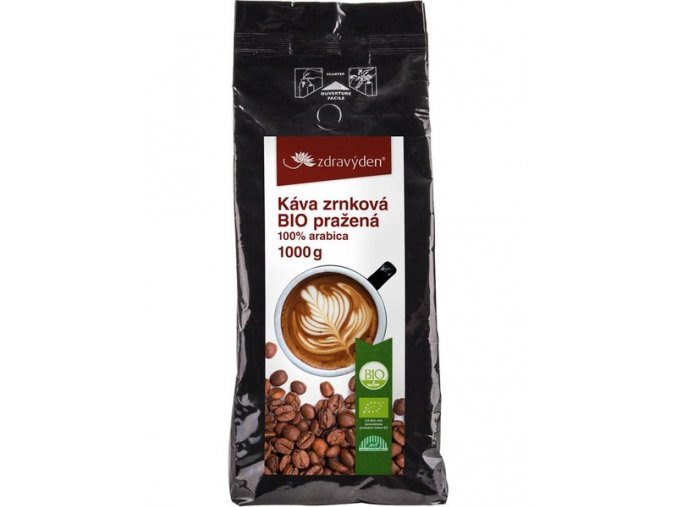 Zdravý den Káva zrnková BIO pražená 1000g  + šťavnatá tyčinka ZDARMA