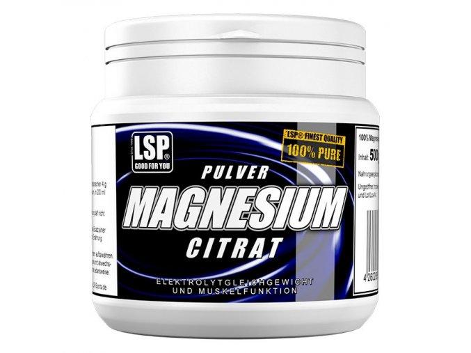 LSP Nutrition Magnesium citrate pulver 500g  + šťavnatá tyčinka ZDARMA
