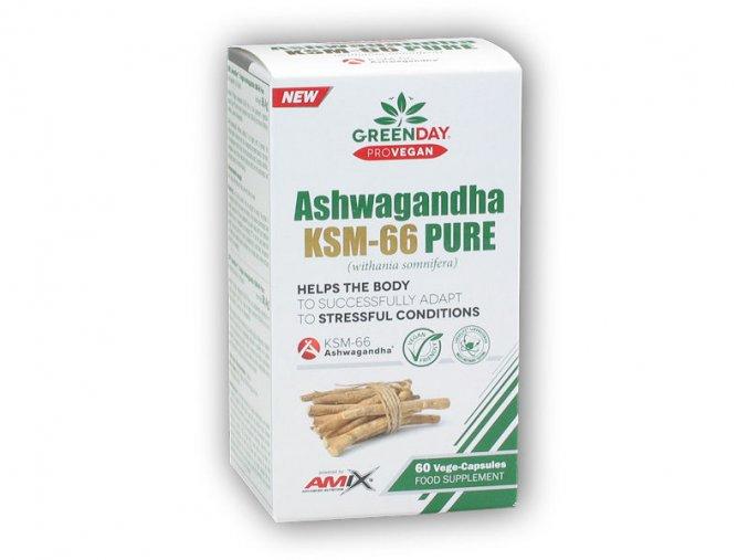 Amix GreenDay ProVEGAN Ashwagandha KSM-66 Pure 60Vcaps  + šťavnatá tyčinka ZDARMA