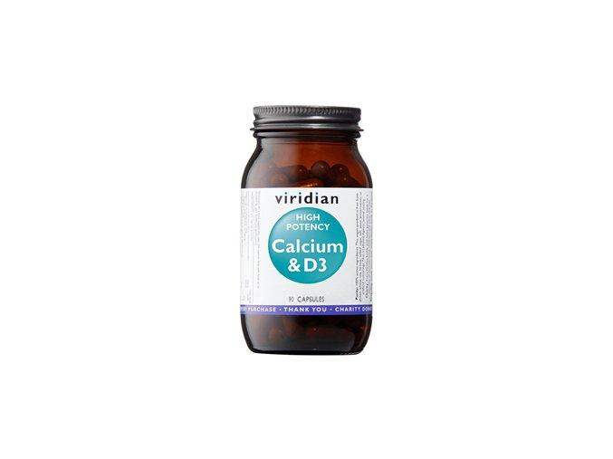 Viridian High Potency Calcium & D3 90 kapslí (Vápník s vitamínem D3)  + šťavnatá tyčinka ZDARMA