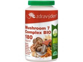 Zdravý den Mushroom 7 Complex BIO 180 kapslí  + šťavnatá tyčinka ZDARMA