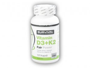 Survival Vitamín D3+K2 Fair power 120 kapslí