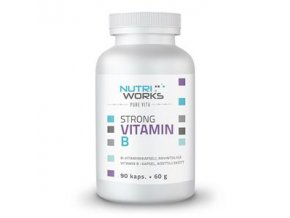 NutriWorks Strong Vitamin B 90 kapslí (Silný vitamín B)  + šťavnatá tyčinka ZDARMA