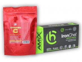 Fitsport IronChel 90 Vcps + Vitamin C 250g  + šťavnatá tyčinka ZDARMA