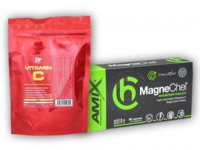 Fitsport MagneChel 90 Vcps + Vitamin C 250g  + šťavnatá tyčinka ZDARMA