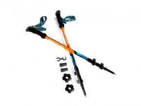 Spokey ZION Trekingové hole 3-dílné, modro-oranžové  + šťavnatá tyčinka ZDARMA