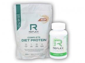 PROTEIN Reflex Nutrition Complete Diet Protein 600g + Green Tea 100cps  + šťavnatá tyčinka ZDARMA