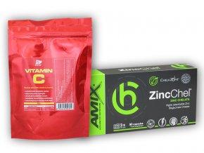 Fitsport ZincChel 90 Vcps + Vitamin C 250g  + šťavnatá tyčinka ZDARMA