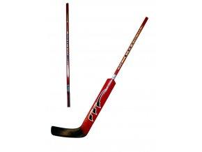 Hokejová hůl brankářská LION rovná barva červená délka 100 cm  + šťavnatá tyčinka ZDARMA