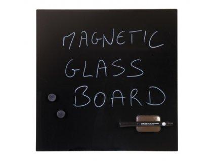 Sklenená popisovacia magnetická tabuľa 48x48 cm, čierna