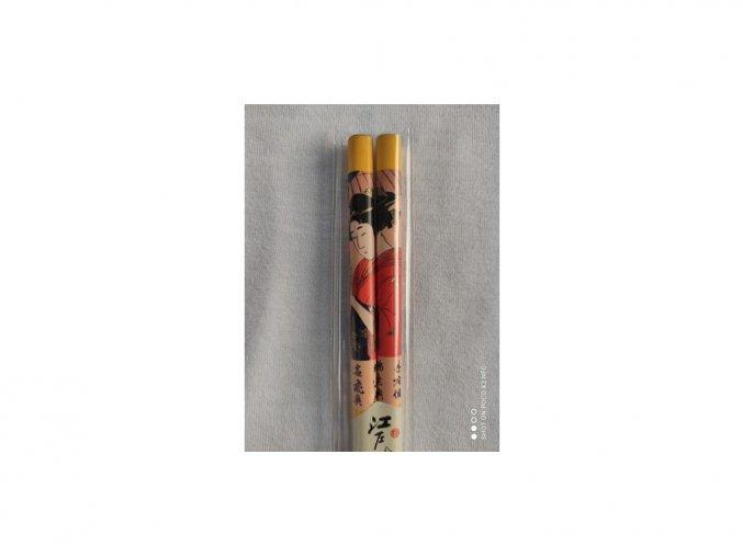 Paličky japonske Gejša žlté 1 pár