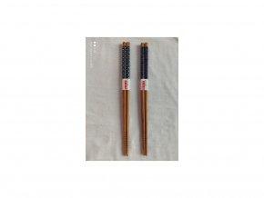 Paličky japonske hnede s modrým 1 pár