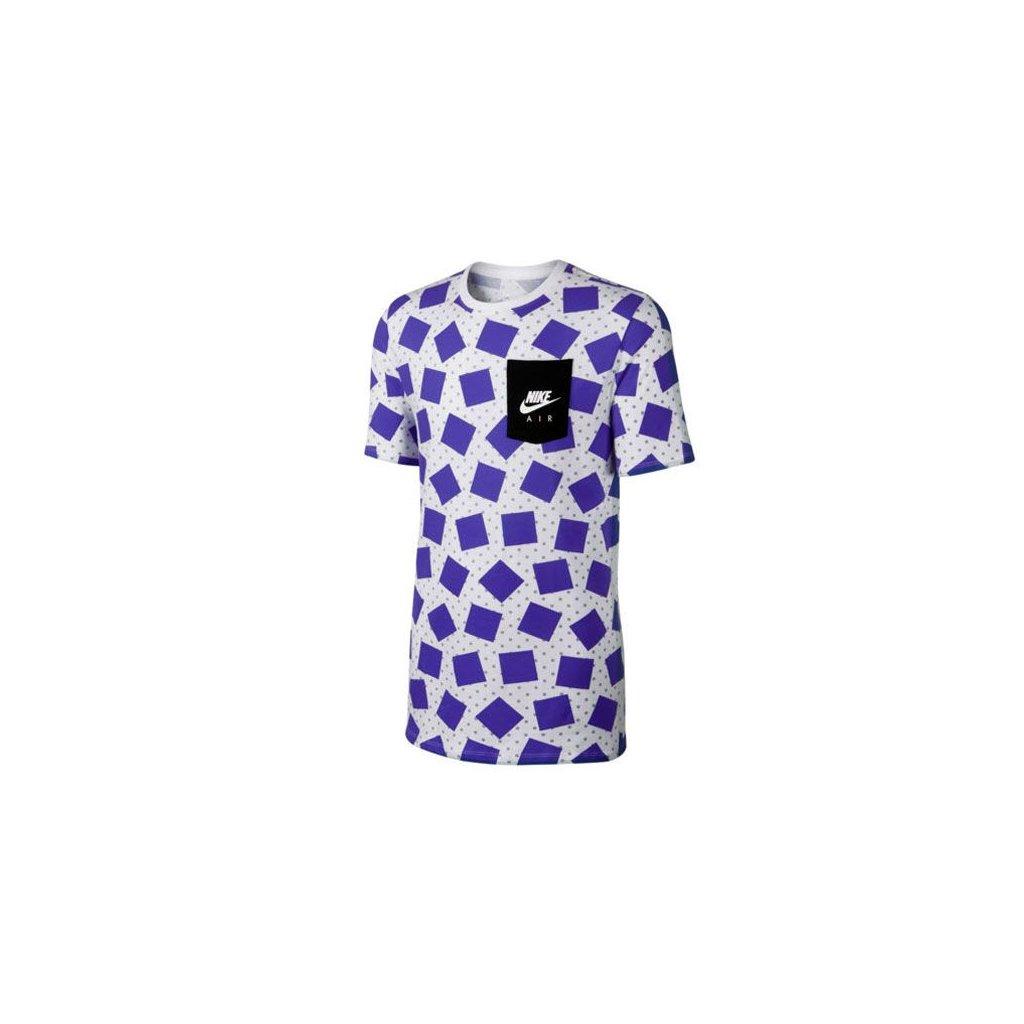 Nike Air Max Print Tee White Wolf Grey Violet (Farba Biela, Veľkosť L)