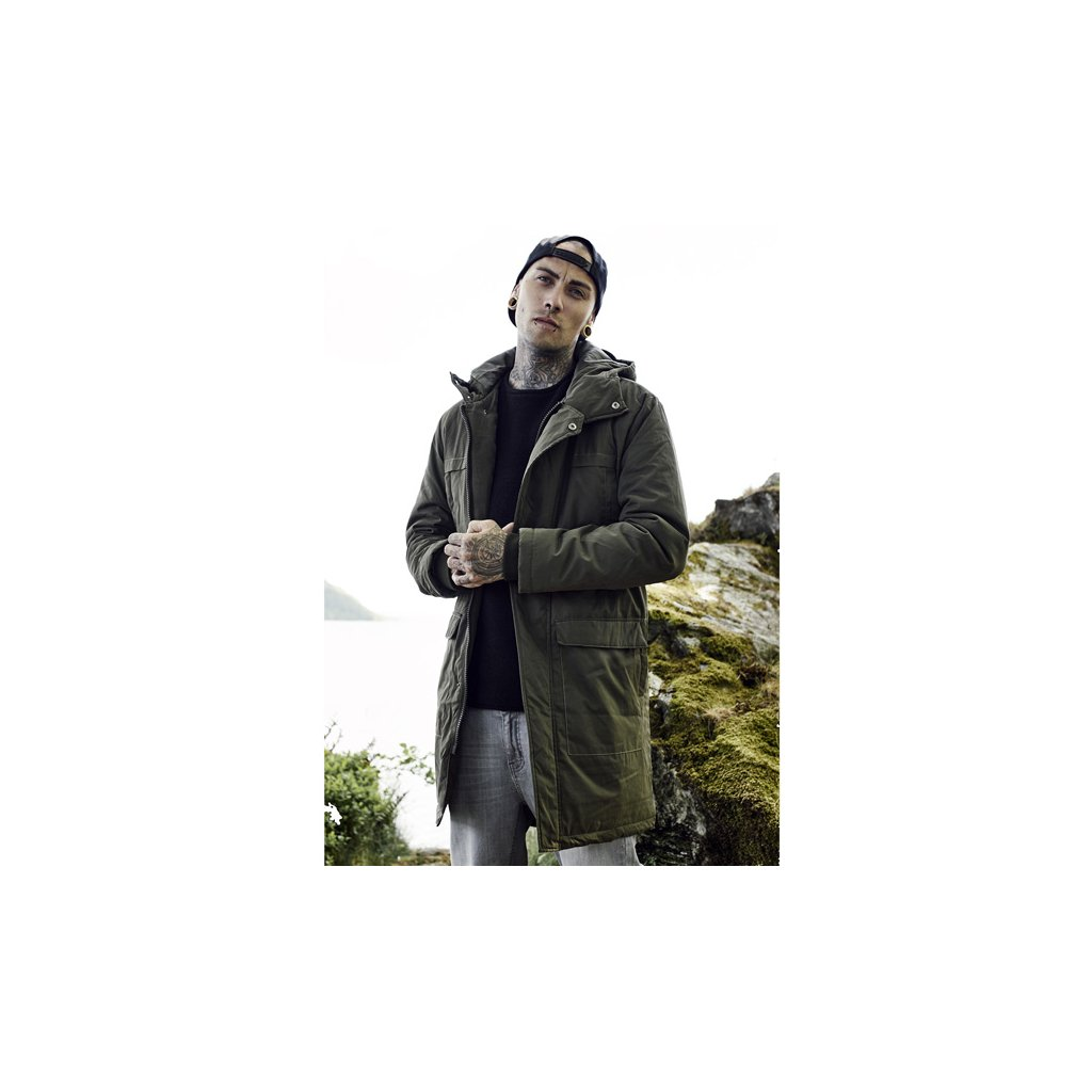 urban classics cotton peached canvas parka olive 29188