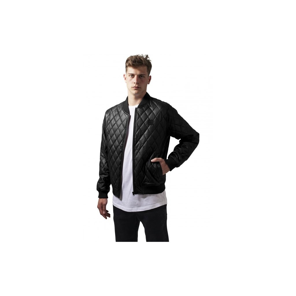 URBAN CLASSICS DIAMOND QUILT LEATHER IMITATION JACKET BLACK (Veľkosť L)
